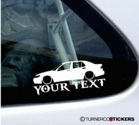 2x Lowered Saab 9-5 sedan CUSTOM TEXT car silhouette stickers